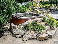 hot tub deck Bullfrog spa Award winning projects with Hot tubs and spas. Long Island Pool and Spa Associations 2012 award winning projects. Hot Tub Backyard, Ponds Backyard, Backyard Patio, Sloped Backyard, Backyard Ideas, Pool Spa, Long Island, Deco Spa, Whirlpool Deck