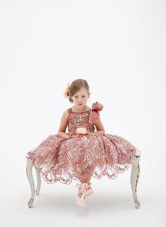 Dusky Pink Embellished Lace Flower Girl Dress
