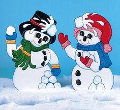 Outdoor Christmas Patterns | Christmas Outdoor Snowmen Having Snowball Fight Wood Yard Art/Lawn ...