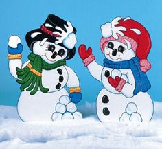 Christmas Outdoor Snowmen Having Snowball Fight Wood Yard Art; Lawn Ornament…