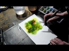Réaliser un arbre grâce aux gouttes d'eau - www.aquarelle.name - YouTube