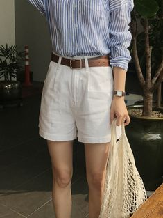 - Sexy outfit with cream shorts and blue and white shirt Blue Striped Shirt Outfit, Blue Shirt Outfits, Blue And White Striped Shirt, Short Outfits, Sexy Outfits, Summer Outfits, Casual Outfits, Fashion Outfits, Blue And White Dress