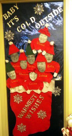 Christmas door ideas, selfie, Buddy the elf, education