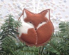 FELT FOX ornament tree ornament handcrafted by StillLifeHome