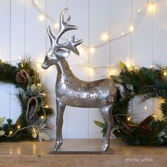 stunning large reindeer christmas lantern nickel