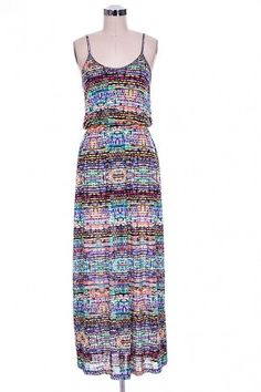 salediem.com sells the coolest dresses for summer Shipping FREE Sleeveless Racerback Maxi Dress in Colorful Mixed Print with Cinched Waist.