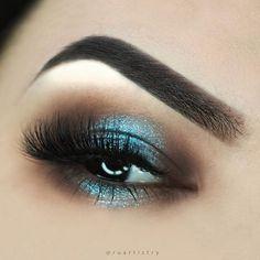 Smokey eye with hint of blue