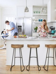 When there's no room for a dining table, a peninsula with high stools brings everyone front and center to the cooking action #hgtvmagazine http://www.hgtv.com/kitchens/small-and-mighty-white-kitchen/pictures/page-6.html?soc=pinterest