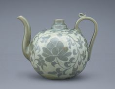 Celadon ewer with lotus scroll design - 13th century  Korean  Goryeo Dynasty :  Honolulu Museum of Art