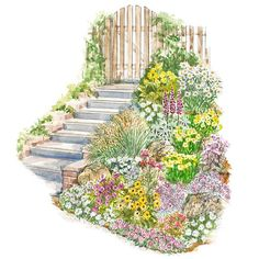Easy Slope Garden Plan - this is exactly how the front gate comes in to the yard.  I never thought I'd see ideas for an area like this.