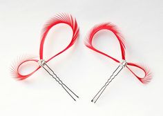 Red Feather Hair Pins - Bridal Fascinator  - Bridesmaids Gift - Custom Color - Modern Minimalist Wedding