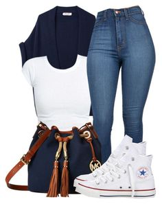 """........"" by bria-queen-ovoxo ❤ liked on Polyvore featuring Organic by John Patrick, MICHAEL Michael Kors and Converse"