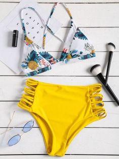 Tropical Printed Strappy High Waisted Bikini Set
