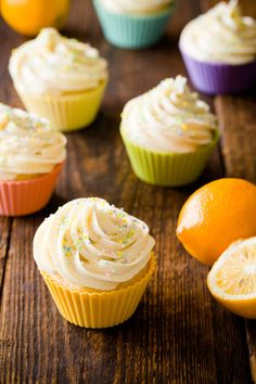 Spring Fresh Meyer Lemon Ricotta Cupcakes with Ginger Buttercream @cupcakeproject