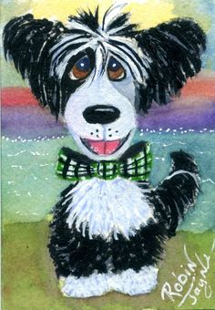 So adorable!! ACEO Chinese Crested Powderpuff Moondoggie - ORIGINAL ROBIN JAYNE WC OOAK #OutsiderArt