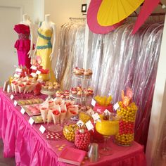 My Bridal Shower!! Pink and yellow candy bar!