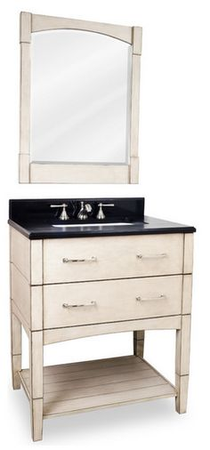 Contemporary Slab Drawer Legged Vanity Set, White  Click here to purchase: http://www.houzz.com/photos/13195704/lid=4612088/Contemporary-Slab-Drawer-Legged-Vanity-Set-White-transitional-bathroom-vanities-and-sink-consoles