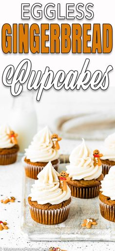 These Easy Eggless Gingerbread Cupcakes are fluffy, moist and delicious! Bursting with warming winter spices, these eggless cupcakes are a sweet way to please any crowd. Brownie Cupcakes, Mini Cupcakes, Cupcake Cakes, Pretty Cupcakes, Eggless Recipes, Eggless Baking, Cooking Recipes, Cupcake Recipes, Dessert Recipes