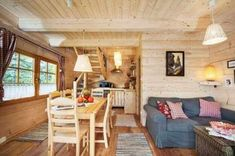 The Gate Lodge is a tiny log cabin even cuter on the inside that has some of the best log cabin details you will find. This tiny log cabin has 192 square feet of open liv. Small Space Living, Tiny Living, Small Spaces, Living Spaces, Living Area, Mini Chalet, Little Log Cabin, Woodland House, Tiny Apartments