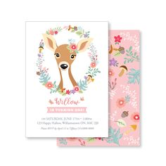Woodland Deer-Fawn Invitation, Girl's Floral Deer Invitation / Woodland Deer Party / deer, fawn, flowers, mushrooms and acorns by crazyfoxpaper on Etsy https://www.etsy.com/listing/510734008/woodland-deer-fawn-invitation-girls