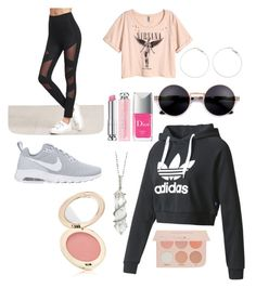 """Sporty laid back glam"" by bri-isaacs on Polyvore featuring NIKE, H&M, adidas, Sharon Khazzam, Christian Dior, Jane Iredale and Guerriero"