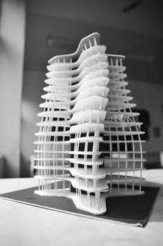 Wuhan Marine Science and Research Tower Proposal / ACID + AaL + Studio méta-  model  maqueta