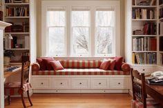 book shelves, window seat design, space saving ideas