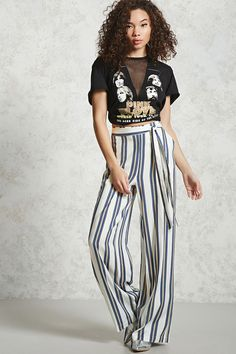 Forever 21 Contemporary - A pair of woven palazzo pants featuring vertical stripes, a self-tie belt, front slant pockets, and mock back pockets.