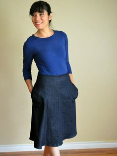 Free A Line Skirt and PDF Pattern. Regular and Plus Sizes.  US sizes 4 - 22 and UK sizes 8 - 26. weallsew.com