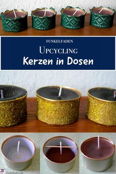Anleitung – Upcycling Kerzen selber machen aus Kerzenresten und Dosen Candle remnants are used to easily create new upcycled candles in cat food containers, with glitter and lace for Christmas DIY Advent wreaths Fall Candles, Diy Candles, Diy Cookie Cutter, Recycling Containers, Food Containers, Diy Bottle, Aromatherapy Candles, Diy Weihnachten, Diy Home Crafts