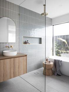 Bathroom Renos, Laundry In Bathroom, Bathroom Renovations, Bathroom Large Tiles, Bathroom Feature Wall Tile, Tiled Bathrooms, Bathroom Tiling, Downstairs Bathroom, Coastal Bathrooms