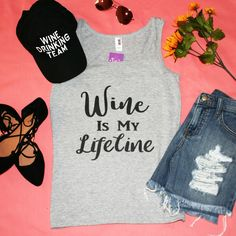 """""""Wine Is My Lifeline"""" Grey Graphic Tank Top 