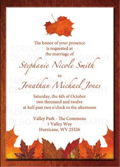 fall wedding invitation digital printable - Fall Themed Wedding Invitations