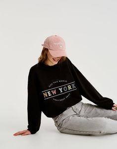 Pull&Bear - woman - teen collection - colourful text sweatshirt - faded black - 05593309-V2018