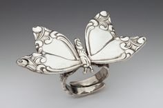 vintage butterfly ring handmade from large spoon handles