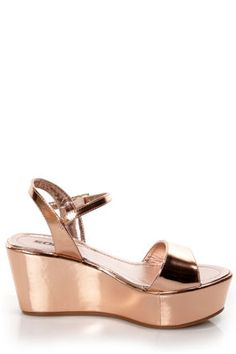If you're jonesing for the Soda Jozy Penny Metallic Flatform Wedge Sandals, then you're not alone! We're so in love with these metallic flatforms in rose gold vegan leather. Toe Band, Vegan Friendly, Wedge Sandals, Vegan Leather, Soda, Metallic, Footwear, Wedges, Pairs