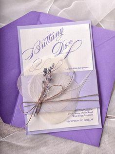 Custom listing (100) Lavender Wedding  Invitations, Lace Bally Band Wedding Invitations, Vintage Wedding invitation - New
