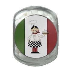 Italian Chef peppermint glass candy jar