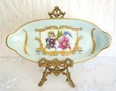 Vintage Limoges Hand Painted Pastel Blue Porcelain Dish
