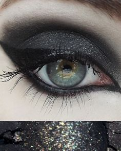 Black Metal eye shadow by Concrete Minerals Black with silver sparkle! Best used as a contour. Black Metal, Heavy Metal, Concrete Minerals, Indie Makeup, Contour, Eyeshadow, Cosmetics, Woman, Contouring