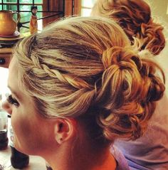 updo with braid bridesmaid hair? - updo with braid bridesmaid hair? - - updo with braid bridesmaid hair? - updo with braid bridesmaid hair? Up Hairstyles, Pretty Hairstyles, Wedding Hairstyles, Formal Hairstyles, Wedding Hair And Makeup, Bridal Hair, Hair Makeup, Pelo Formal, French Twist Hair