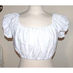 Vintage 50s Inspired Cropped Gypsy Top White Broiderie Anglaise Lace... ($46) ❤ liked on Polyvore featuring tops, shirts, white lace shirt, white off the shoulder top, white lace top, lace crop top and crop top