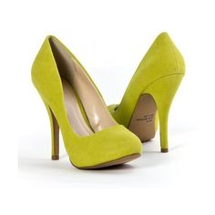 Qupid Women's Classic High Heel Pointy Toe Stiletto Shoe Pump, Lime... ($40) ❤ liked on Polyvore