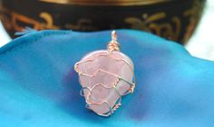 Rose Quartz Pendant Crystal Stone Handmade Wire Wrapped, leather necklace optional (sold separately) by GladStonesNSage on Etsy