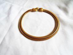 Vintage Choker Snake Necklace Gold Tone Mid Century #Unbranded #ChokerNecklaceSnakeChainVintageMidCentury