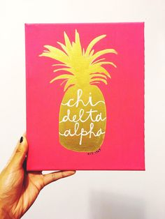 Painted Pineapple Canvas: Sorority by ACMadeSimply on Etsy