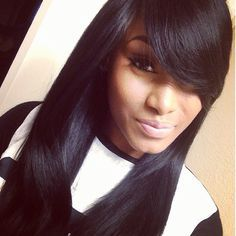 Long Weave Hairstyles With Bangs. Long Weave Hairstyles With Bangs. - Haircuts and Hairstyles. Human Hair Wig With Bangs Glueless Human Hair Straight Wigs For Quick Weave Hairstyles, Hairstyles With Bangs, Pretty Hairstyles, Straight Hairstyles, Black Hairstyles With Weave, Love Hair, Gorgeous Hair, Amazing Hair, Natural Hair Styles