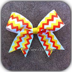 Ready to ship! Candy Corn Chevron cheer style bow  on Etsy or Facebook by Two Tiara's Bowtique