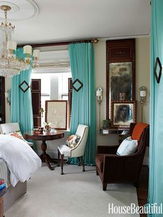 """""""Aquamarine symbolizes flow and harmony, while being vivid enough to be sexy,"""" designer Kelee Katillac says."""