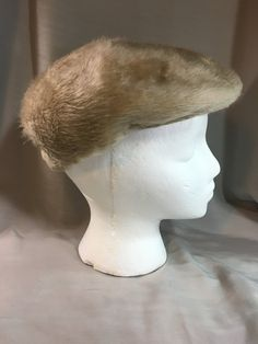 63904fd2 Vintage Beige Faux Fur Paperboy Hat Inside Band is 20.75 Inches not  Stretched by Oldtonewjewels on